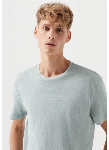 Mavi Like The Ocean Baskılı  Tişört Gri